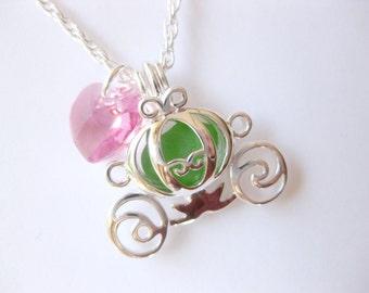 Carriage locket Cinderella Pendant Sea Glass Jewelry Beach Glass Jewelry Handmade, Custom Jewelry