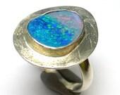 Opal Ring Size 7.5 Sterling Silver Doublet Australian Australia One of a Kind Handmade Lisajoy Sachs Design October Birthstone Birthday Gift