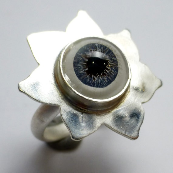 Human Eye Ring Blue Glass Sterling Silver Lotus Flower One of A Kind handmade Lisajoy Sachs Design size 7.75 Statement Birthday Cocktail