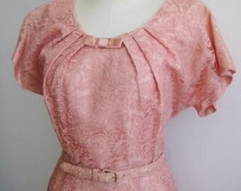 Vintage 50s Pink Lace Party Dance Dress & Matching Bolero Set