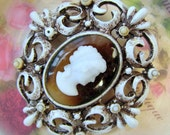 Vintage Cameo Brooch-Pendant - Brown and White Cameo Brooch - Pretty Vintage Cameo Brooch