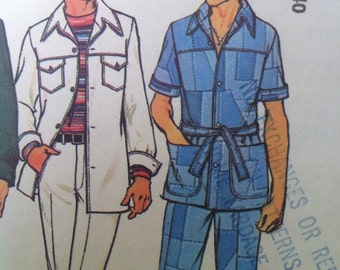 Simplicity 7314 Vintage 1970's Men's Leisure Suit Pattern -Retro Men's Belted Shirt Jacket and Pants Pattern -Sizes 38 and 40 -Uncut