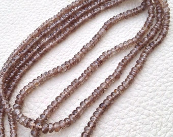 New Arrival,Amazing Rare NATURAL Brown ZIRCON, 1/2 Strand,Micro Faceted Rondells,3-4mm,Finest Quality