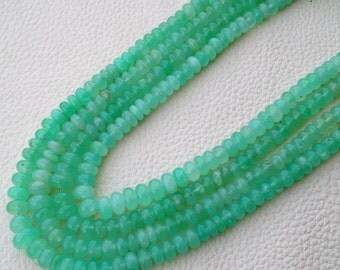 WOW,,Brand New, aaa Quality Natural AUSTRALIAN CHRYSOPRASE Smooth Rondells, 5-6mm Size Rondells,Full 8 Inch Long Strand Great Item