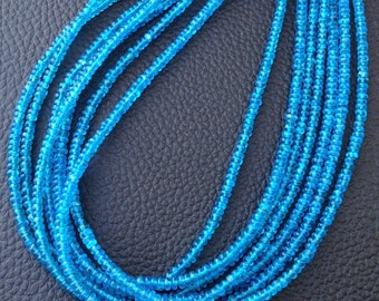 Brand New, AAA Rare Natural NEON Blue APATITE Smooth Rondells, Fine Cutting, Size 3-3.5mm,Full Strand.