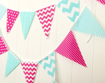 Banner, Bunting, Fabric Pennant Flags, Aqua Blue, Raspberry Hot Pink Garland, Polka Dot, Baby Girl Nursery Decor, Photo Prop, Birthday Party