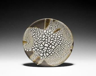 Handmade Dark Stoneware Plate with Abstract Glaze Design 15-035