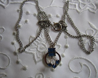 Vintage Silver Tone Chain and Royal Blue Rhinestone Pendant Necklace