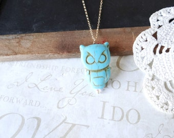 NATIVE turquoise owl charm necklace (gold or silver)