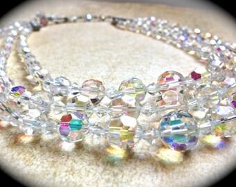 3 Strand Crystal Necklace, Vintage Wedding Choker