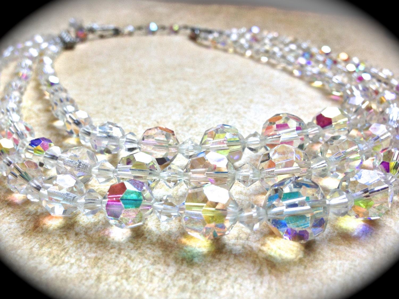 3 Strand Crystal Necklace Aurora Borealis Necklace Wedding