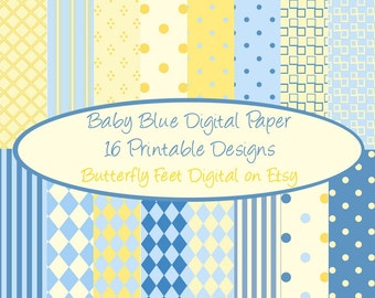 Blue and Yellow Digital Paper, 16 Designs, Scrapbooking, Card Making, Invitations Baby Boy, Printable Background, Instant Download