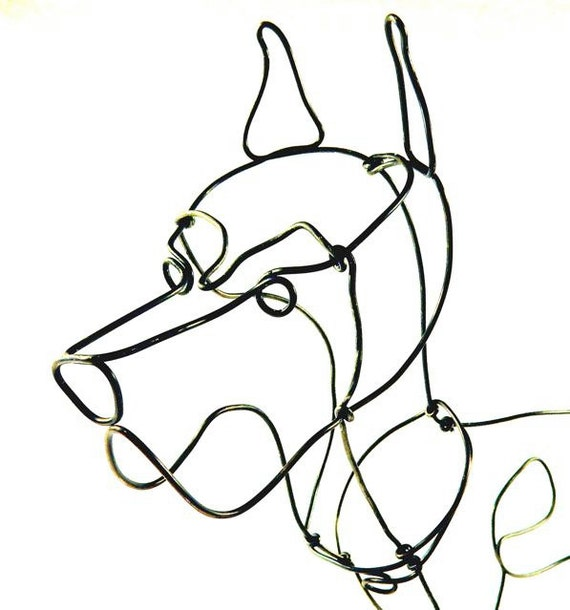 Large dog wire sculpture dog wire sculpture folk by wiredbybud for Dog wire art