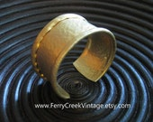 Matte Gold Tone Hammered Like  Cuff Bracelet FREE SHIPPING
