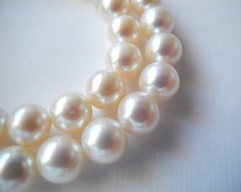 Freshwater Pearl White Round Cultured  8mm  AAA Pink Luster Half Strand 26 Pearls