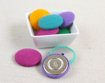 Felt Buttons // Flat or Shank Back // Large Button, Fabric Button, Felt Craft Supply, Multicolor DIY Supplies, Flower Crafts, Sewing Notions