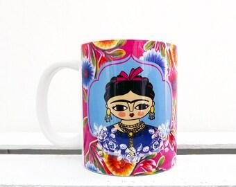 Mug with original artwork of Frida Kahlo