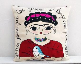 Illustration of Frida Kahlo. Hand painted pillow. Pies para que los quiero si tengo alas para volar