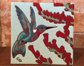 "6""x6"" Hand Glazed Hummingbird Ceramic Tile Trivet"