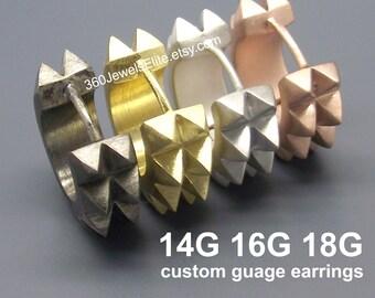 Thorn Gauge Hoop Earrings - Men's Gold Huggie - Men's Earrings - 14 Gauge - 16 Gauge - 18 Gauge - Custom Gauge Earrings  - Medium E154