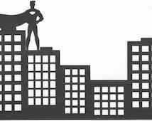 Superhero skyline silhouette