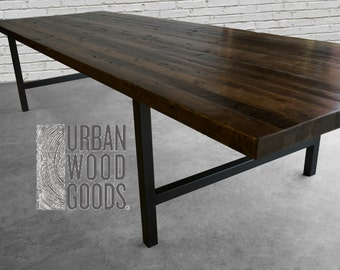 "Conference table in standard 1.65"" top reclaimed wood and steel legs in your choice of color, size and finish"