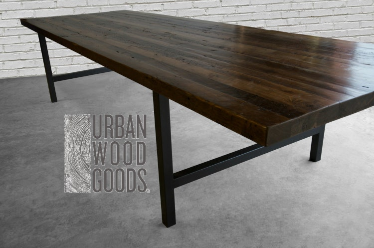 Wood Conference Table In Thick Reclaimed Wood By