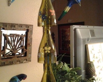 SPRING SPECIAL SALE wine bottle butterfly wind chime