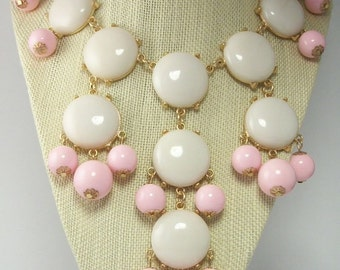 Vintage Bubble Pink and White Round Flat Bead Bib Necklace Summer Statement Jewelry
