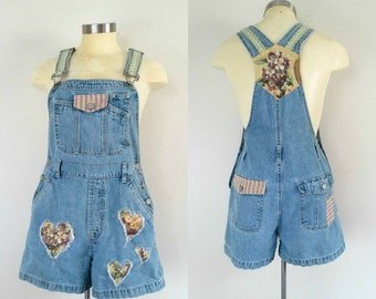 Denim Shorts Overalls Redesign Vintage 1980 Size Small