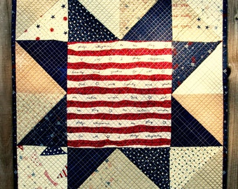 Patriotic Pledge of Allegiance Art Quilt American Flag Veterans Sawtooth Star Wall Hanging Quilted Handmade President's Day