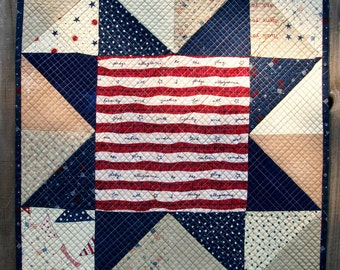 Patriotic Art Quilt Pledge of Allegiance American Flag Veterans Sawtooth Star Wall Hanging Quilted Quiltsy Handmade FREE U.S. Shipping