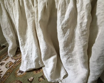 """Queen Bed Skirt-Gathered Linen Bed Skirt-Casual Washed Linen Bedding-Queen Bed Skirt in Washed Linen-18"""" Drop Length-Other Sizes Available"""