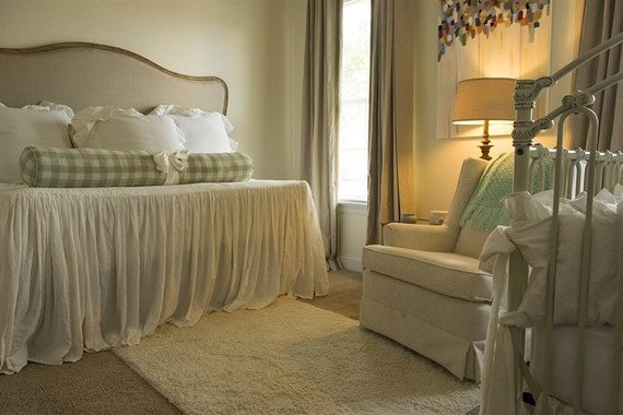Extra Long Gathered Washed Linen Bedspread Your Size And Color