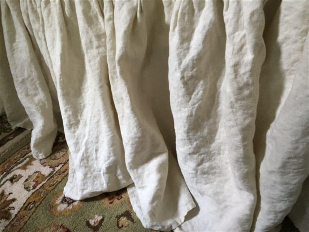 White Linen Bed Skirt King