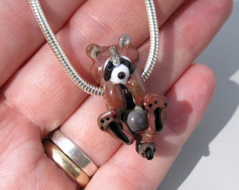 Playful Racoon Totem Pendant Necklace handmade lampwork glass bead animal totem