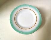 Small Vintage Restaurant Ware Plates, White with Turquoise Edge, Shenango China, Set of 4