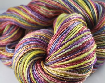 Handspun Yarn Gently Thick and Thin DK Single Merino and Tencel 'Crayons'