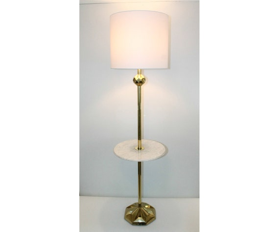 Brass Floor Lamp With Glass Tray Table: Hollywood Regency Italian Marble Brass Floor Lamp Table