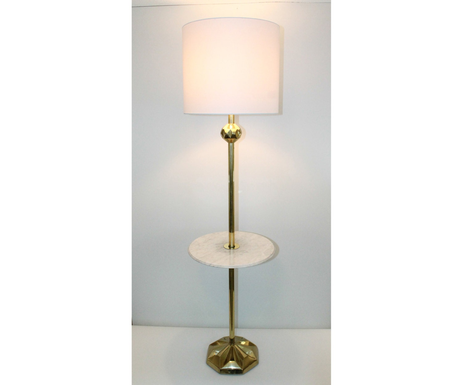 Hollywood regency italian marble brass floor lamp table for Floor lamp with table