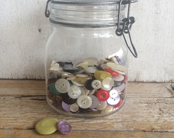 Vintage Italian Glass Jar with Vintage Button Collection