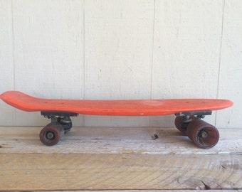 Vintage Makaha Cheddar Cheese Orange Skateboard,Kicktail, Urethane Wheels
