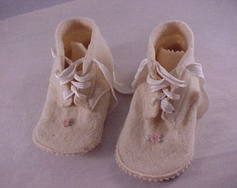 Vintage Wool Felt Baby Shoes