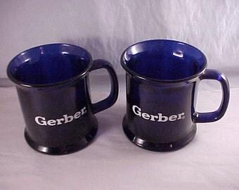 Gerber Cobalt Blue Glass Mugs