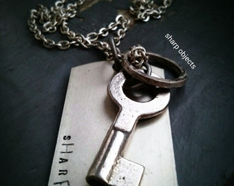 SIMPLICITY - mens silver steel vintage skeleton key, ring & stamped dog tag charm chain NECKLACE