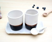 Cream and Sugar Bowl Set with Spoon - White + Dark Brown - READY TO SHIP
