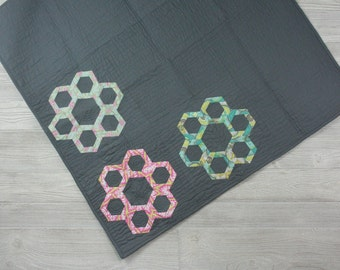 Modern Geometric Baby Quilt, Cotton Blanket, Handmade