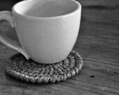Grey Coasters Modern Mug Rugs Home Decor Rustic Design Crocheted Accessories Custom Colors