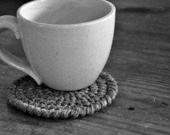 Grey Coasters Modern Mug Rugs Home Decor Rustic Design Crocheted Accessories Custom Colors