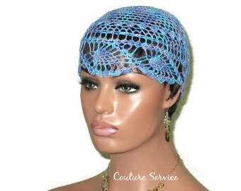 Blue Pineapple Lace Cloche, Windsor, Multicolor, Variegated, Lace Beanie, Hand Crocheted, Lace Hat, Crocheted Lace Hat, Pineapple Lace Cap